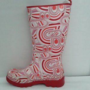 COACH Pink/Red Monogram Paisley Rain boots 7M
